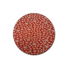 Holiday Snow Snowflakes Red Rubber Round Coaster (4 Pack)  by Nexatart