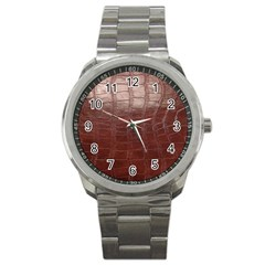Leather Snake Skin Texture Sport Metal Watch