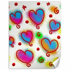 Love Hearts Shapes Doodle Art Canvas 12  X 16   by Nexatart