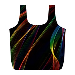 Rainbow Ribbons Full Print Recycle Bags (l)  by Nexatart