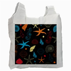 Seahorse Starfish Seashell Shell Recycle Bag (two Side)  by Nexatart