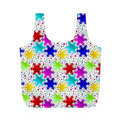 Snowflake Pattern Repeated Full Print Recycle Bags (m)  by Nexatart