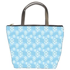Snowflakes Winter Christmas Bucket Bags by Nexatart