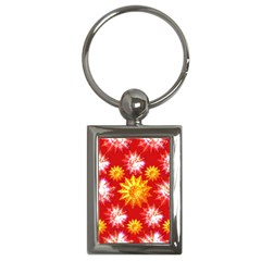 Stars Patterns Christmas Background Seamless Key Chains (rectangle)  by Nexatart