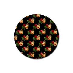 Vintage Roses Wallpaper Pattern Rubber Round Coaster (4 Pack)  by Nexatart