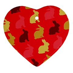 Hare Easter Pattern Animals Ornament (heart) by Amaryn4rt