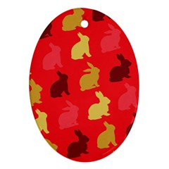Hare Easter Pattern Animals Oval Ornament (two Sides) by Amaryn4rt