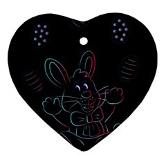 Easter Bunny Hare Rabbit Animal Ornament (heart) by Amaryn4rt