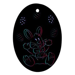 Easter Bunny Hare Rabbit Animal Oval Ornament (two Sides) by Amaryn4rt