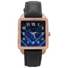 Blue Background Wallpaper Motif Design Rose Gold Leather Watch