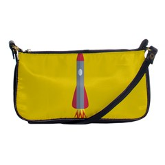 Plane Rocket Space Yellow Shoulder Clutch Bags by Alisyart