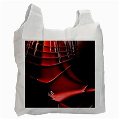 Red Black Fractal Mathematics Abstract Recycle Bag (two Side)  by Amaryn4rt