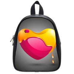 Valentine Heart Having Transparency Effect Pink Yellow School Bags (small)  by Alisyart