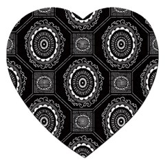 Circle Plaid Black Floral Jigsaw Puzzle (heart) by Alisyart