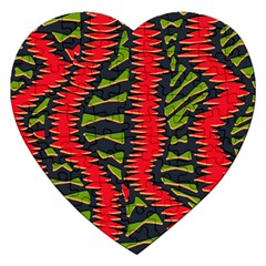 African Fabric Red Green Jigsaw Puzzle (heart) by Alisyart