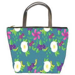 Caterpillar Flower Floral Leaf Rose White Purple Green Yellow Animals Bucket Bags by Alisyart