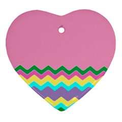Easter Chevron Pattern Stripes Heart Ornament (two Sides) by Amaryn4rt
