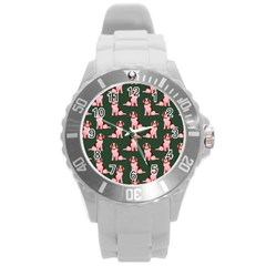 Dog Animal Pattern Round Plastic Sport Watch (l)