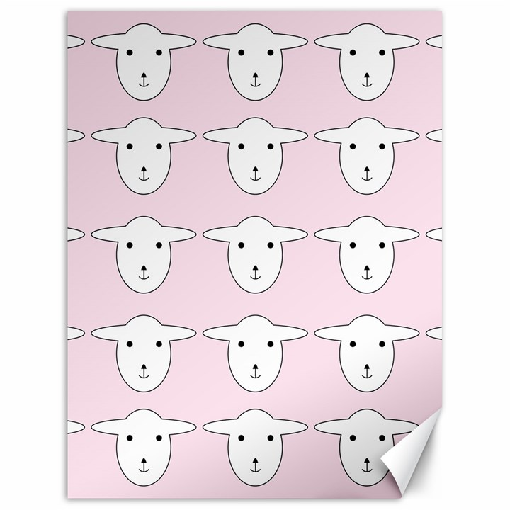 Sheep Wallpaper Pattern Pink Canvas 18  x 24