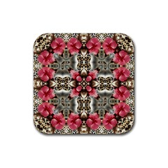 Flowers Fabric Rubber Coaster (square)  by Amaryn4rt