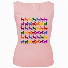 Colorful Horse Background Wallpaper Women s Pink Tank Top by Amaryn4rt