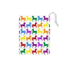Colorful Horse Background Wallpaper Drawstring Pouches (small)  by Amaryn4rt