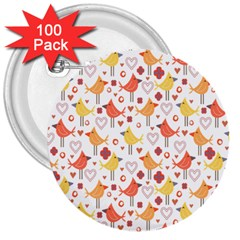 Animal Pattern Happy Birds Seamless Pattern 3  Buttons (100 Pack)  by Amaryn4rt