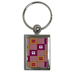 African Fabric Diamon Chevron Yellow Pink Purple Plaid Key Chains (rectangle)  by Alisyart