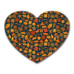 Pattern Background Ethnic Tribal Heart Mousepads by Amaryn4rt