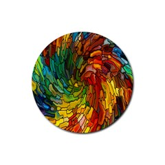 Stained Glass Patterns Colorful Rubber Round Coaster (4 Pack)  by Amaryn4rt