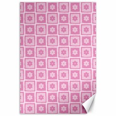Plaid Floral Flower Pink Canvas 12  X 18   by Alisyart