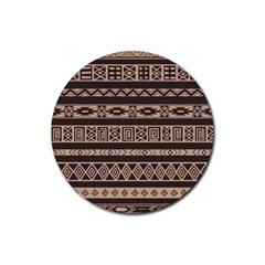 Ethnic Pattern Vector Rubber Round Coaster (4 Pack)  by Amaryn4rt