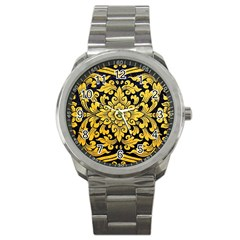 Flower Pattern In Traditional Thai Style Art Painting On Window Of The Temple Sport Metal Watch
