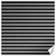 Black White Line Fabric Canvas 16  X 16   by Alisyart