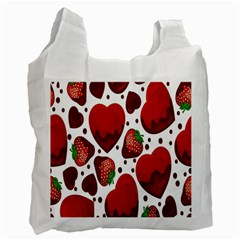 Strawberry Hearts Cocolate Love Valentine Pink Fruit Red Recycle Bag (one Side) by Alisyart