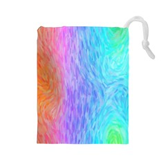 Abstract Color Pattern Textures Colouring Drawstring Pouches (large)