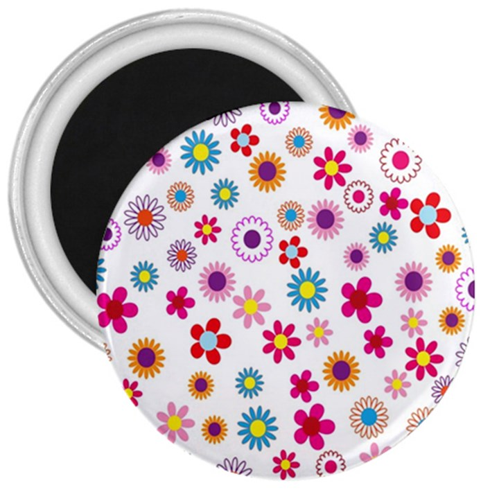 Colorful Floral Flowers Pattern 3  Magnets