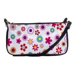 Colorful Floral Flowers Pattern Shoulder Clutch Bags by Simbadda