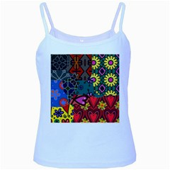 Patchwork Collage Baby Blue Spaghetti Tank by Simbadda