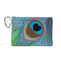 Peacock Feather Lines Background Canvas Cosmetic Bag (M) by Simbadda