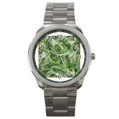 Peacock Feathers Pattern Sport Metal Watch