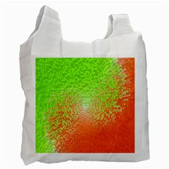 Plaid Green Orange White Circle Recycle Bag (one Side) by Alisyart