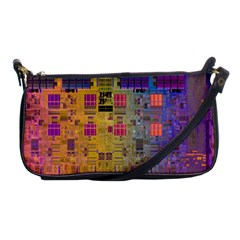 Circuit Board Pattern Lynnfield Die Shoulder Clutch Bags by Simbadda