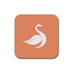Swan Girl Face Hair Face Orange White Rubber Square Coaster (4 Pack)  by Alisyart