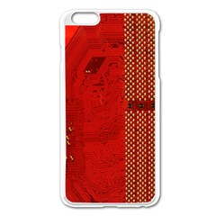 Computer Texture Red Motherboard Circuit Apple Iphone 6 Plus/6s Plus Enamel White Case by Simbadda