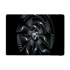 Fractal Disk Texture Black White Spiral Circle Abstract Tech Technologic iPad Mini 2 Flip Cases by Simbadda