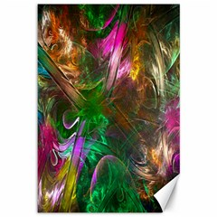 Fractal Texture Abstract Messy Light Color Swirl Bright Canvas 12  X 18   by Simbadda
