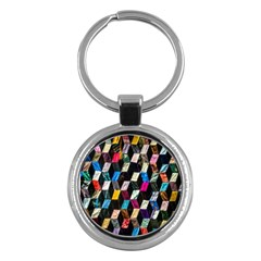 Abstract Multicolor Cubes 3d Quilt Fabric Key Chains (round)  by Onesevenart