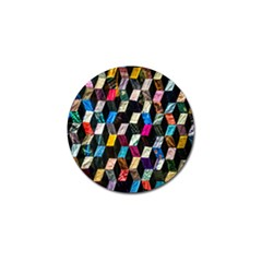 Abstract Multicolor Cubes 3d Quilt Fabric Golf Ball Marker by Onesevenart