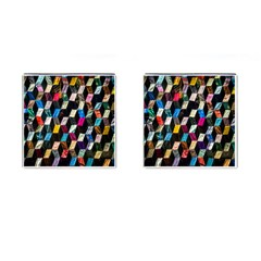 Abstract Multicolor Cubes 3d Quilt Fabric Cufflinks (Square) by Onesevenart